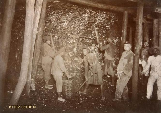 Miners in the Ombilin Coal Mine at Sawahloento, Sumatra's West Coast, 1920