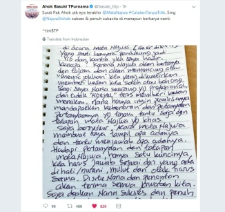 Notes from Ahok on Twitter