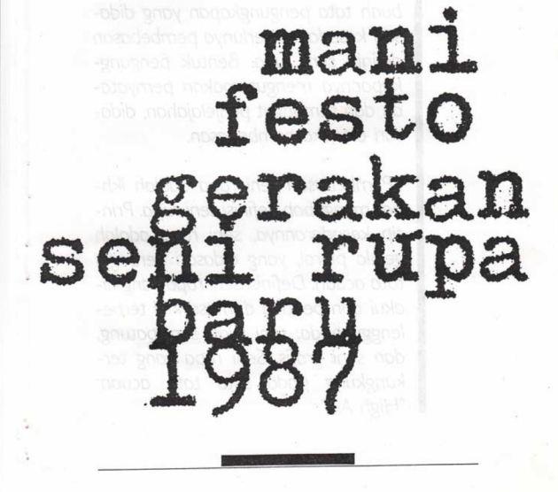 Manifesto of the New Art Movement 1987