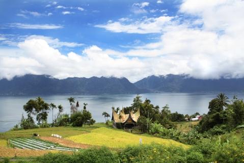 View of Lake Maninjau in Sumatra