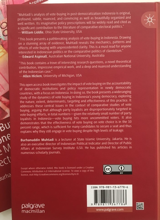 """Back Cover, """"Vote Buying in Indonesia The Mechanics of Electoral Bribery"""" By Muhtadi, Burhanuddin"""